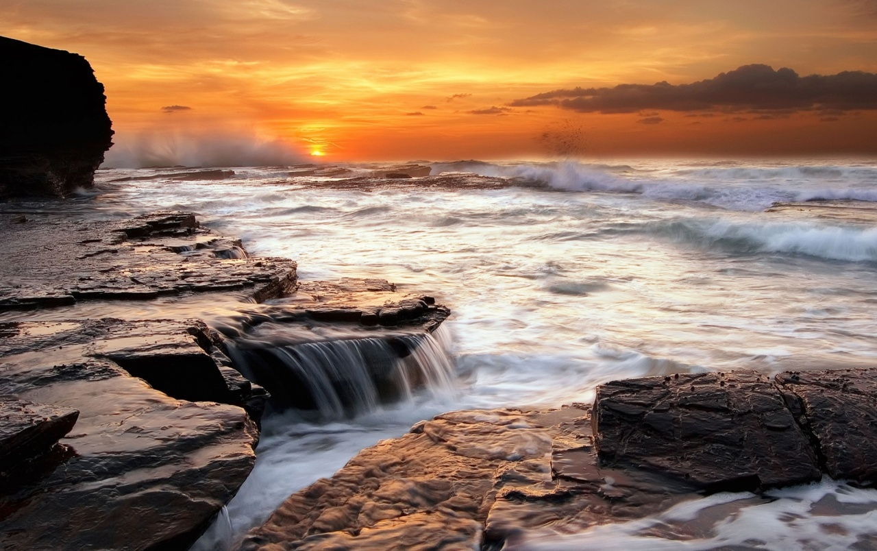 Fall Scenes Wallpaper Ocean Sunset Rocks Waterfall Wallpapers Ocean Sunset