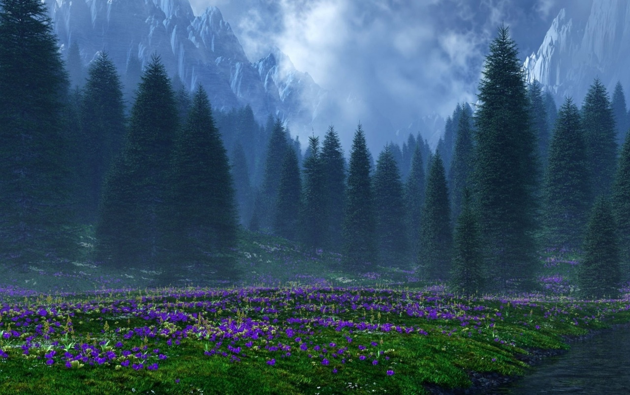 3d Wallpaper For Galaxy Y Mountains Trees Purple Flowers Wallpapers Mountains