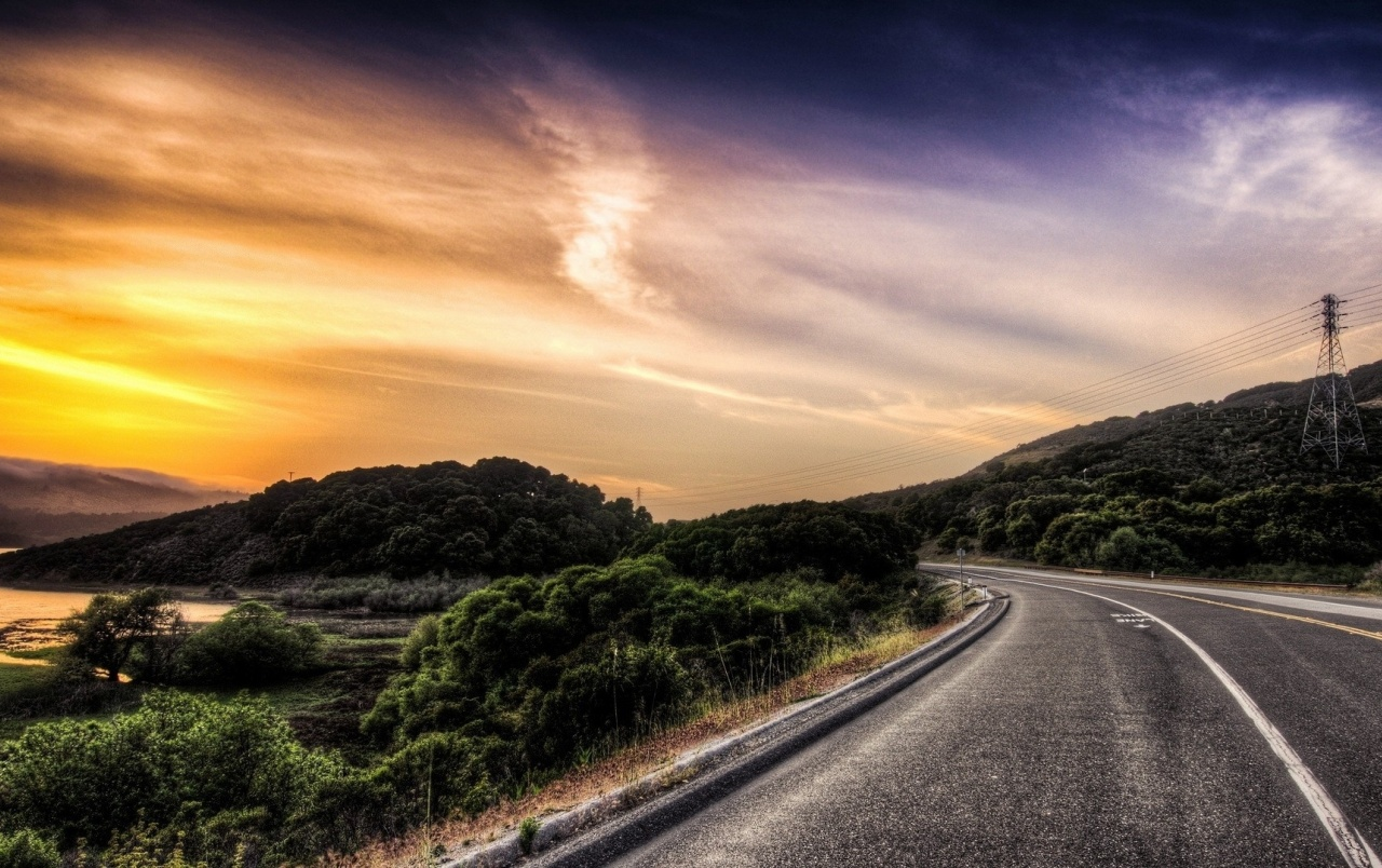 3d Nokia Wallpaper Road Scenic Pole River Sunset Wallpapers Road Scenic