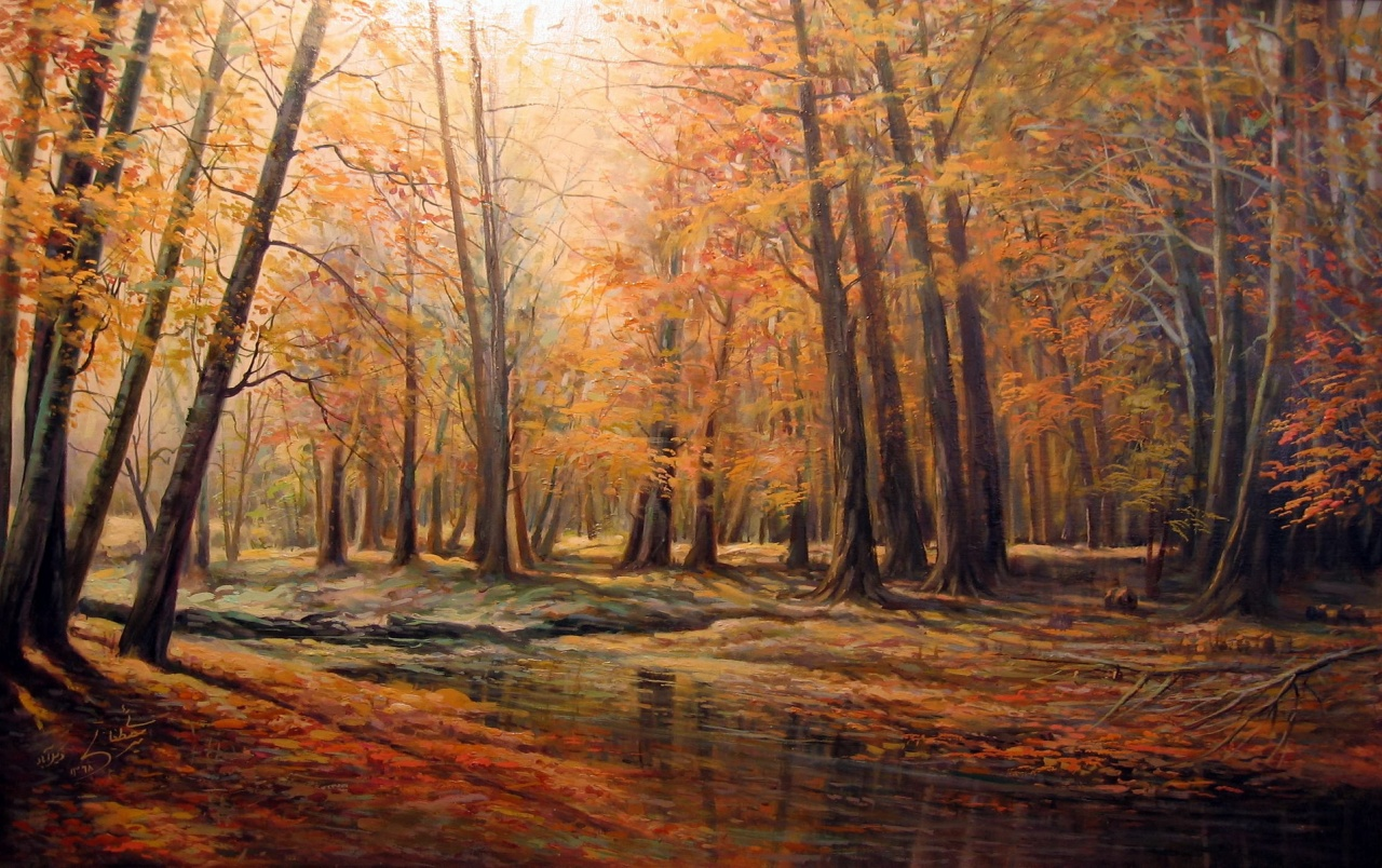 3d Nokia Wallpaper Autumn Forest Amp Creek Painting Wallpapers Autumn Forest