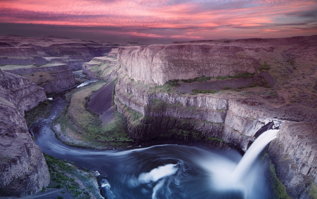 3d Waterfall Wallpaper For Mobile Waterfall Cliff River Pink Sky Wallpapers Waterfall