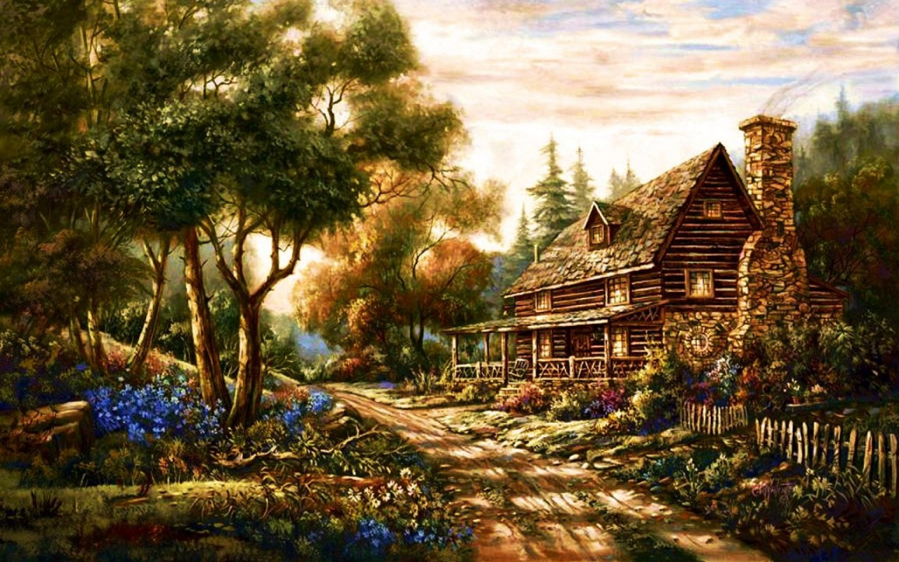 Wallpaper Iphone 5 Cartoon Forest Cottage Path Flowers Wallpapers Forest Cottage