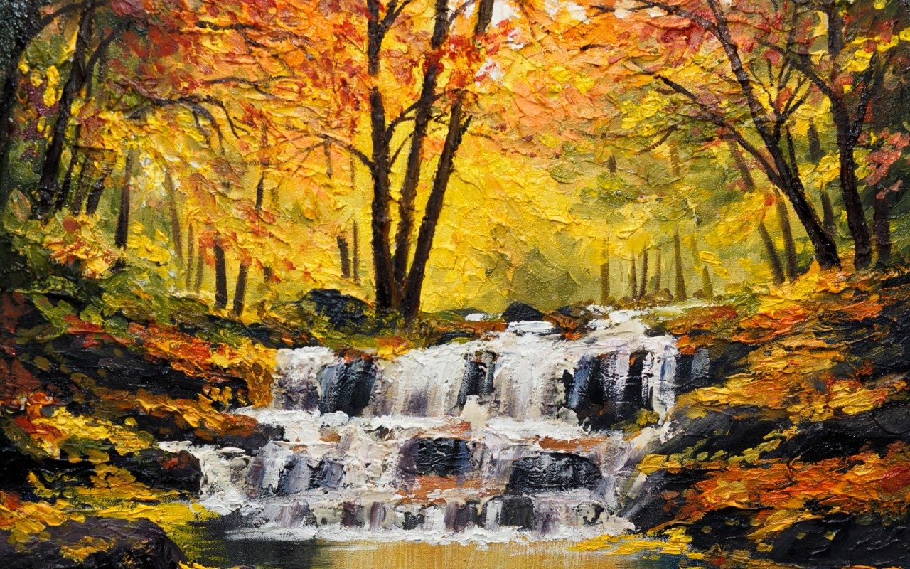 Beautiful Fall Paintings Wallpapers Autumn Wood Waterfall Cascade Wallpapers Autumn Wood