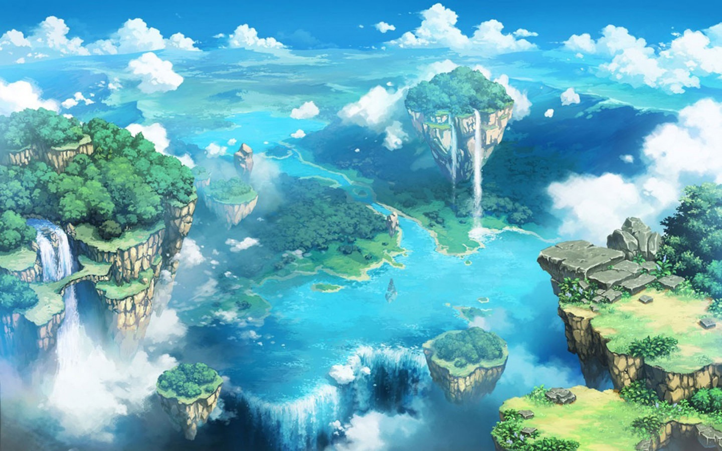 Animated Waterfall Wallpapers For Mobile Waterfall Flying Islands River Wallpapers Waterfall