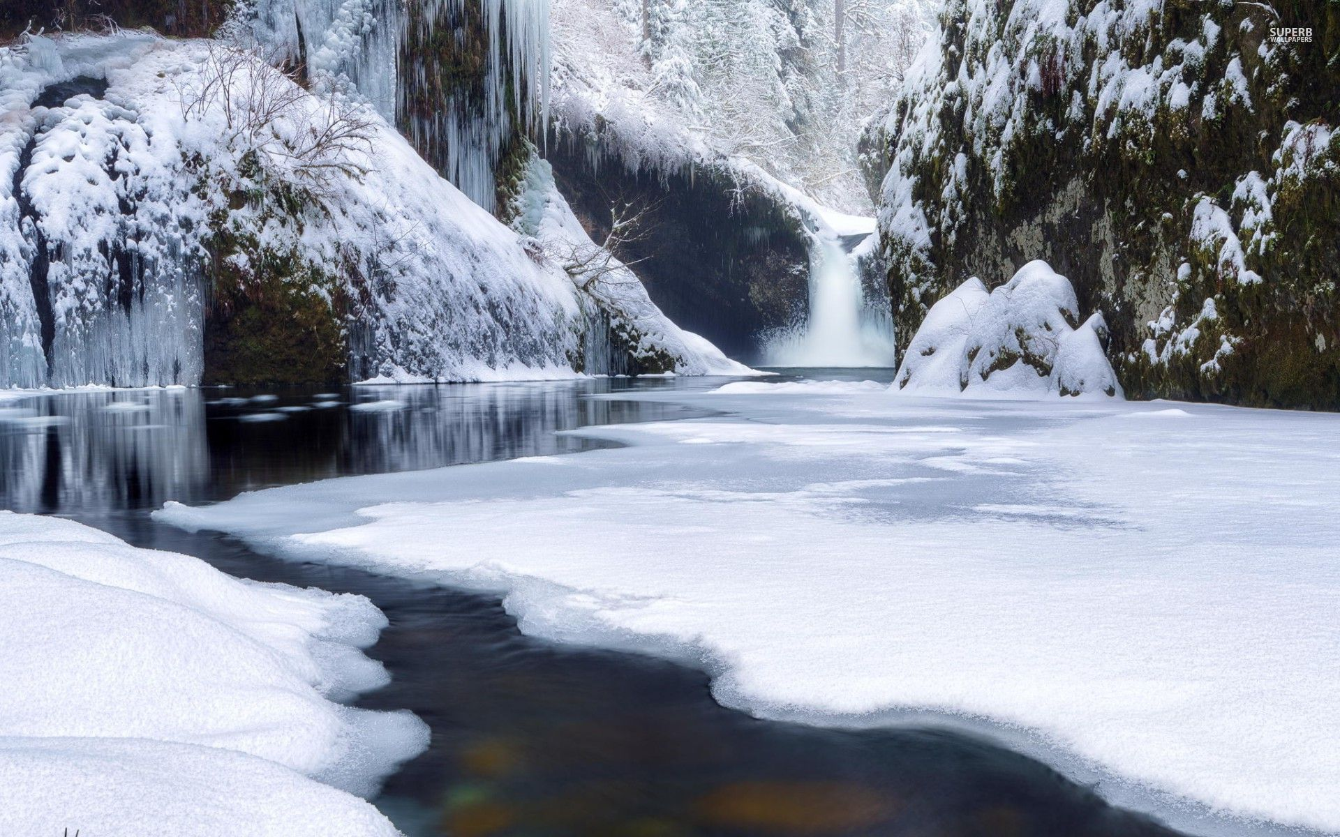 3d Waterfall Wallpaper For Mobile Waterfall River Snowy Forest Wallpapers Waterfall River