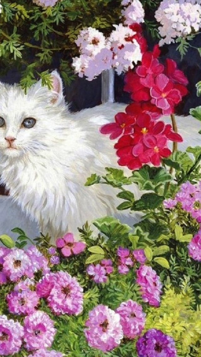 640x1136 white kitty amp pink flowers iphone 5 wallpaper