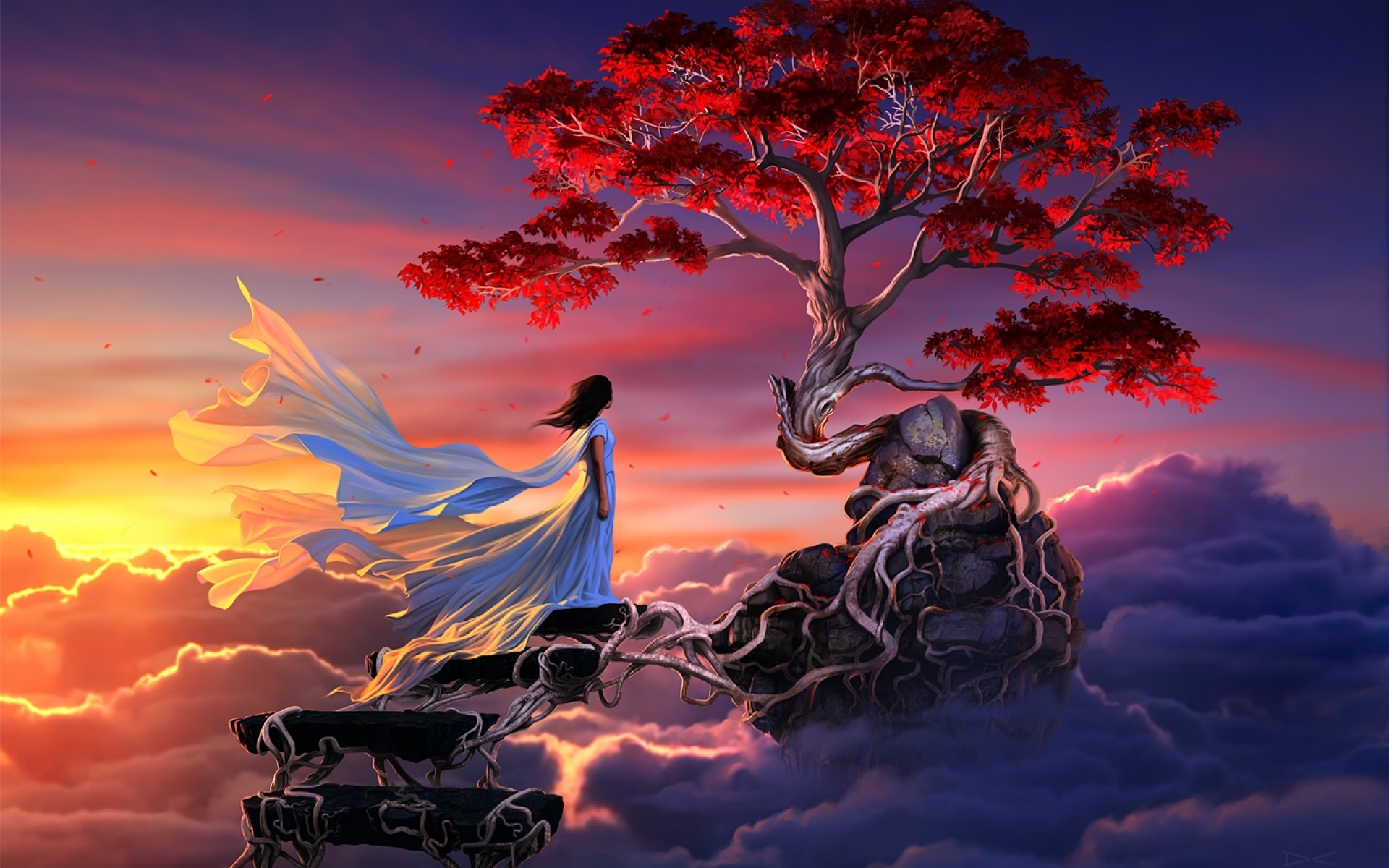 Kirschbaum Wallpaper Woman Steps Sky Sakura Tree Wallpapers Woman Steps Sky