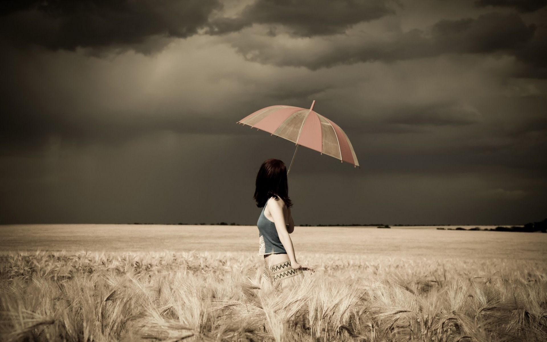 Falling Leaves Wallpaper For Iphone Woman Umbrella Field Stormy Wallpapers Woman Umbrella