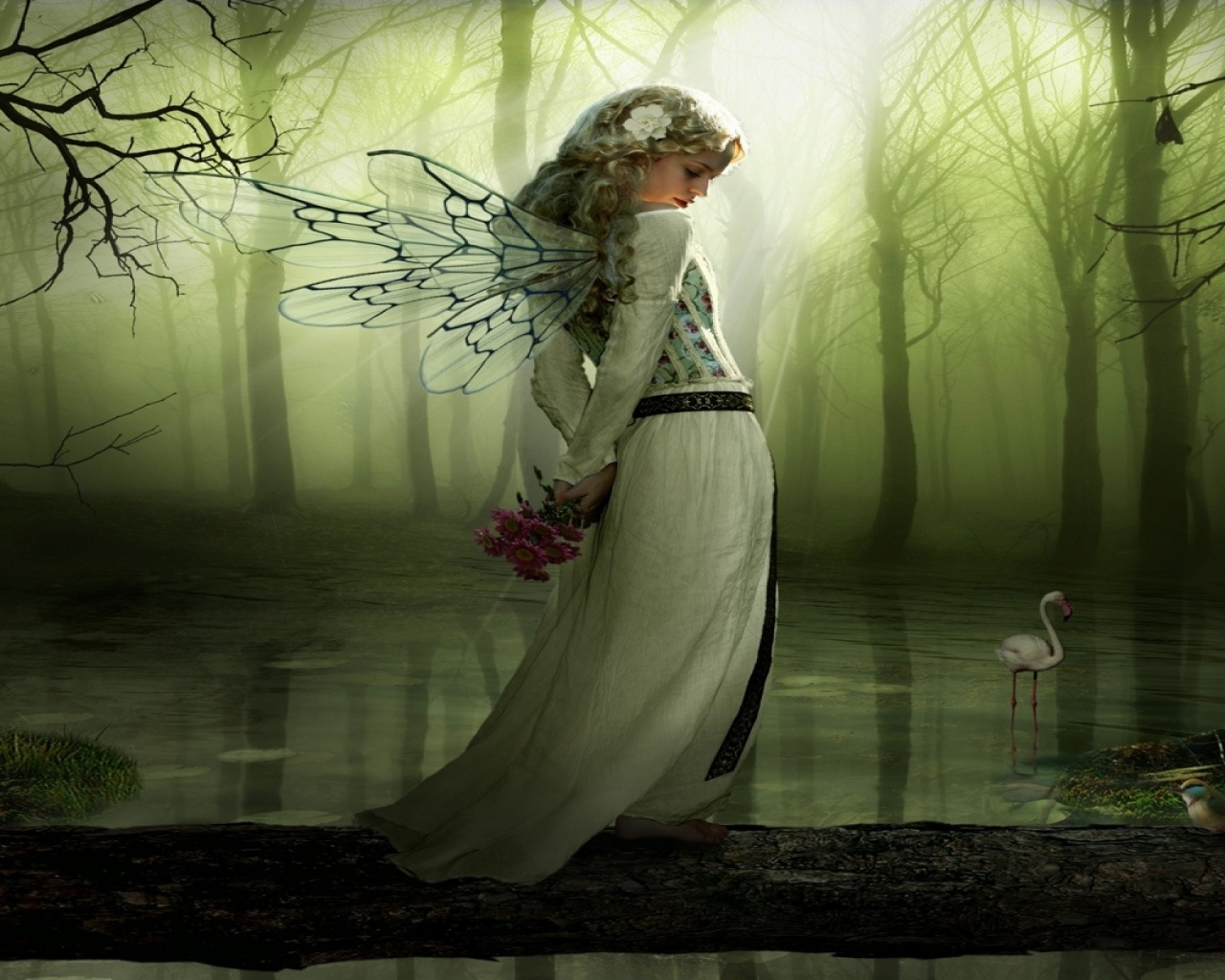 Forest Girl Wallpaper 1280x1024 Wood Lonely Fairy Water Birds Desktop Pc And Mac