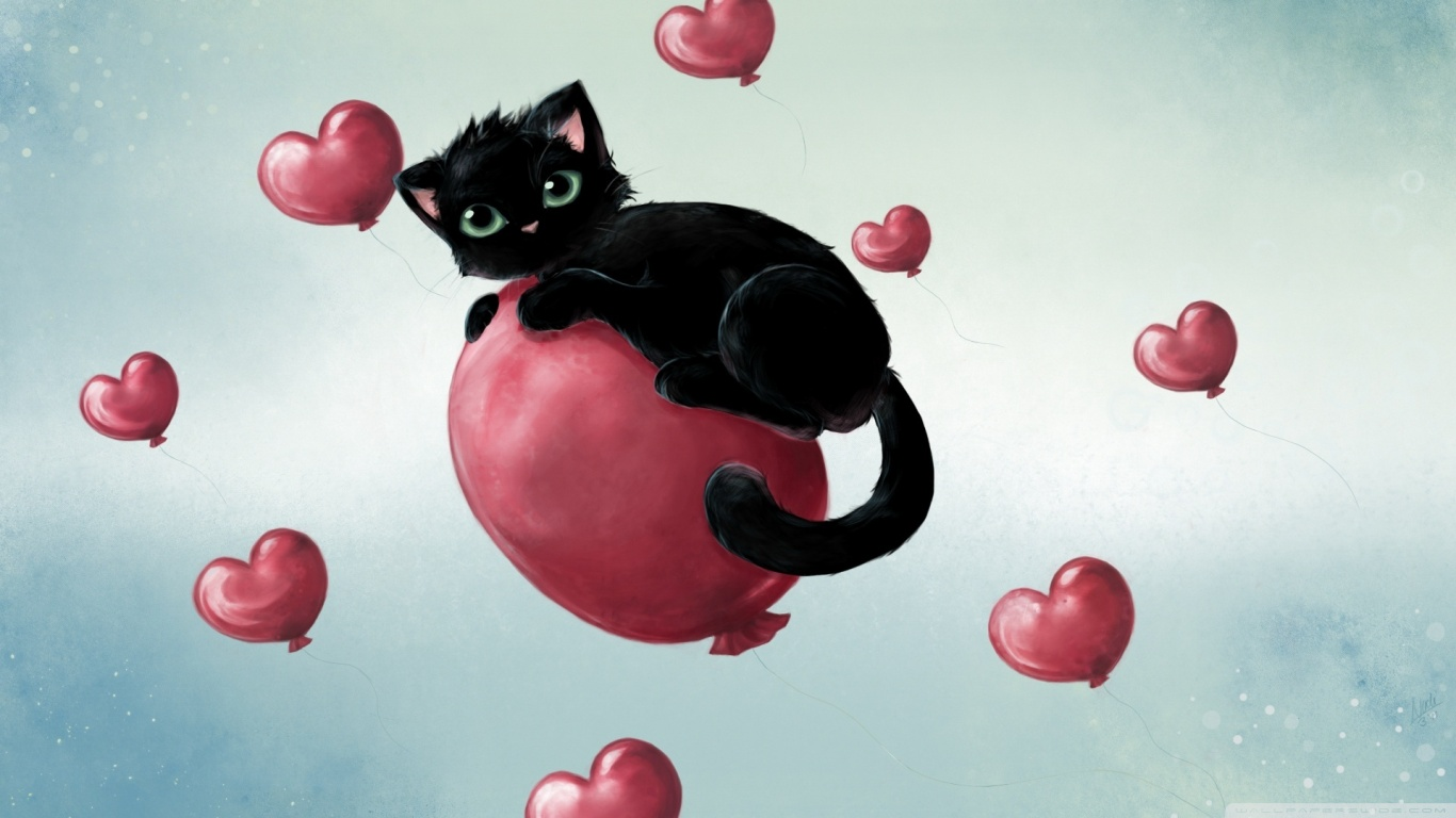 Sweet Cute Wallpapers 240x320 Cute Kitty Floating On Heart Baloons 4k Hd Desktop