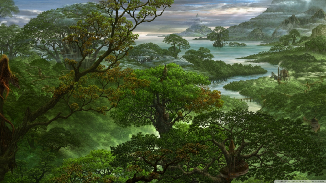 Hd Painting Wallpapers Download Fantasy Jungle 4k Hd Desktop Wallpaper For 4k Ultra Hd Tv