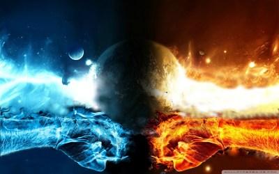 FIRE VS WATER 4K HD Desktop Wallpaper for 4K Ultra HD TV • Tablet • Smartphone • Mobile Devices