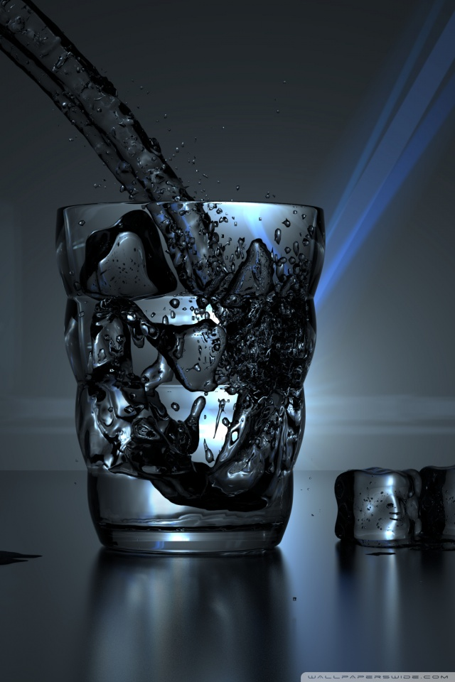 3d Wallpaper For Mobile 480x800 Glass Of Water And Some Ice Cubes 4k Hd Desktop Wallpaper