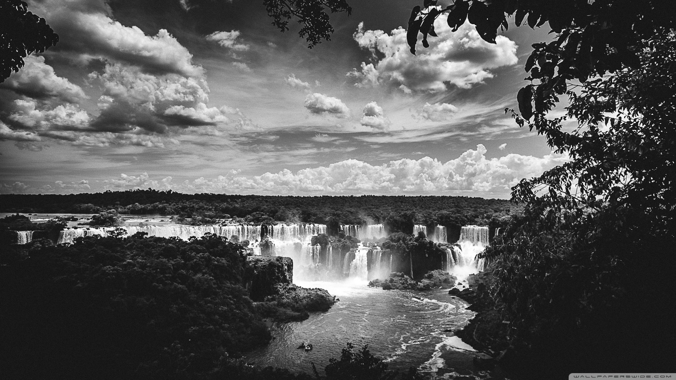 Iguazu Falls Hd Wallpaper Iguazu Falls Black And White 4k Hd Desktop Wallpaper For