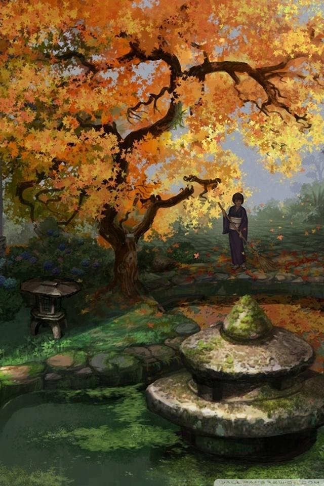 Wallpaper Smartphone Anime Japanese Garden Painting 4k Hd Desktop Wallpaper For 4k