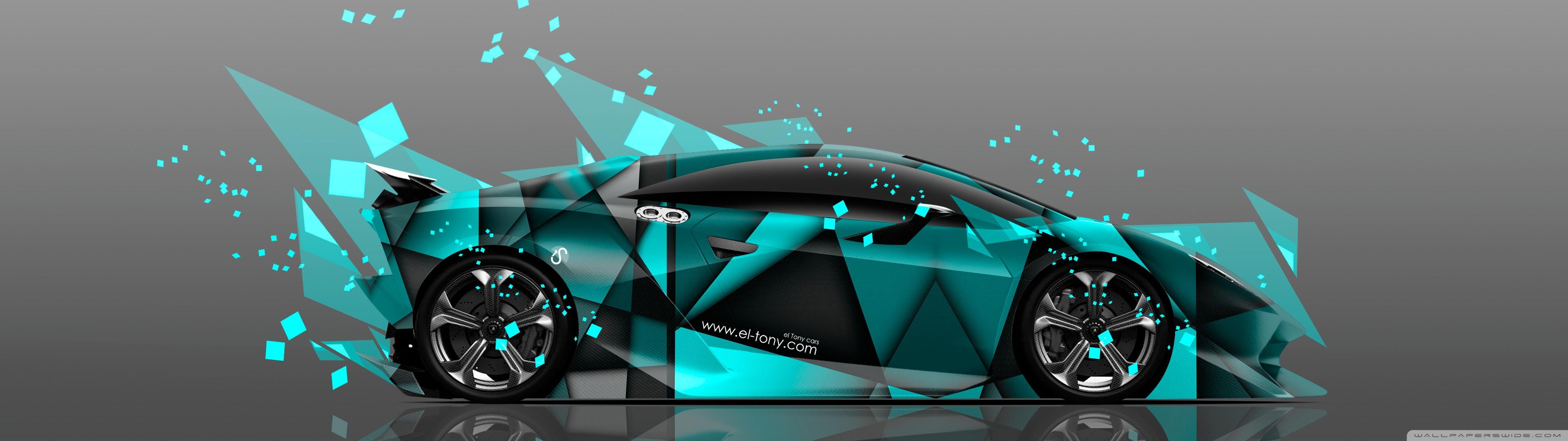 Car Dual Monitor Wallpaper 3840x1200 Lamborghini Sesto Elemento Abstract Aerography Car Design