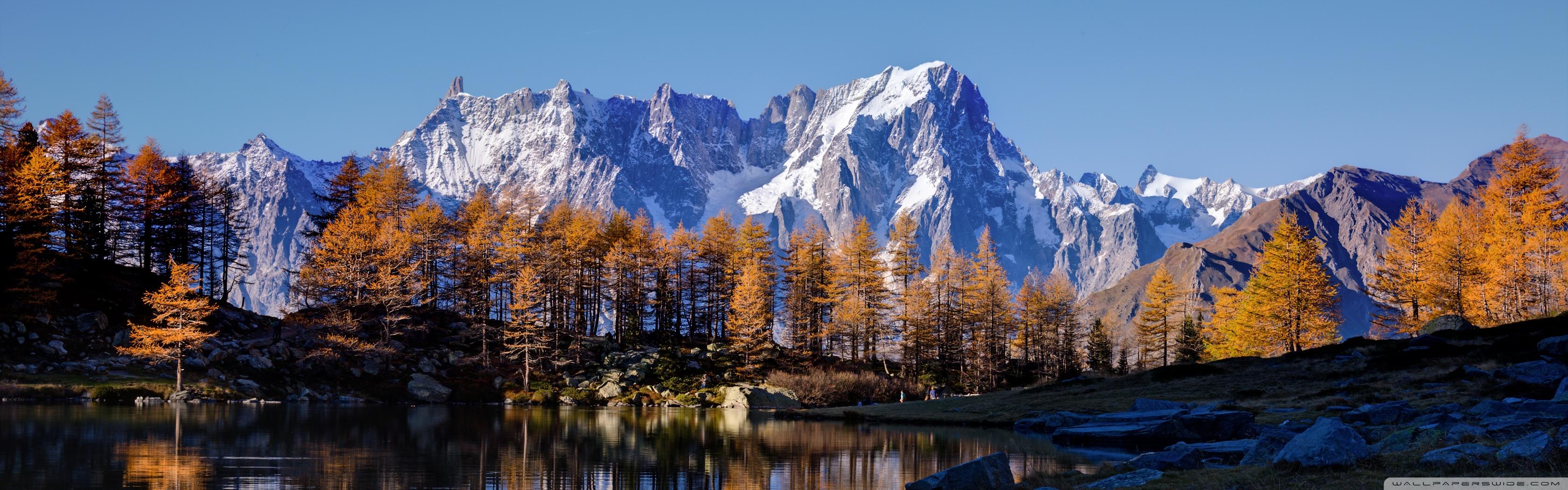 Fall Dual Monitor Wallpaper Mont Blanc Autumn 4k Hd Desktop Wallpaper For Dual