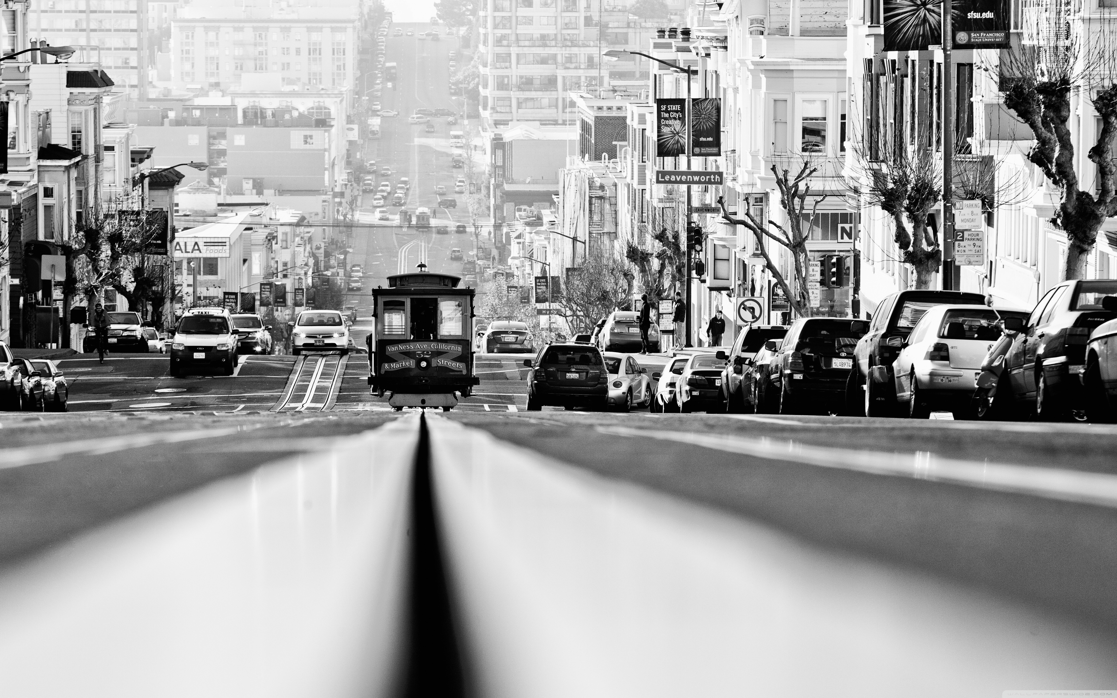 Cable Car Black And White Wallpaper Those Greater San Francisco Days 4k Hd Desktop Wallpaper