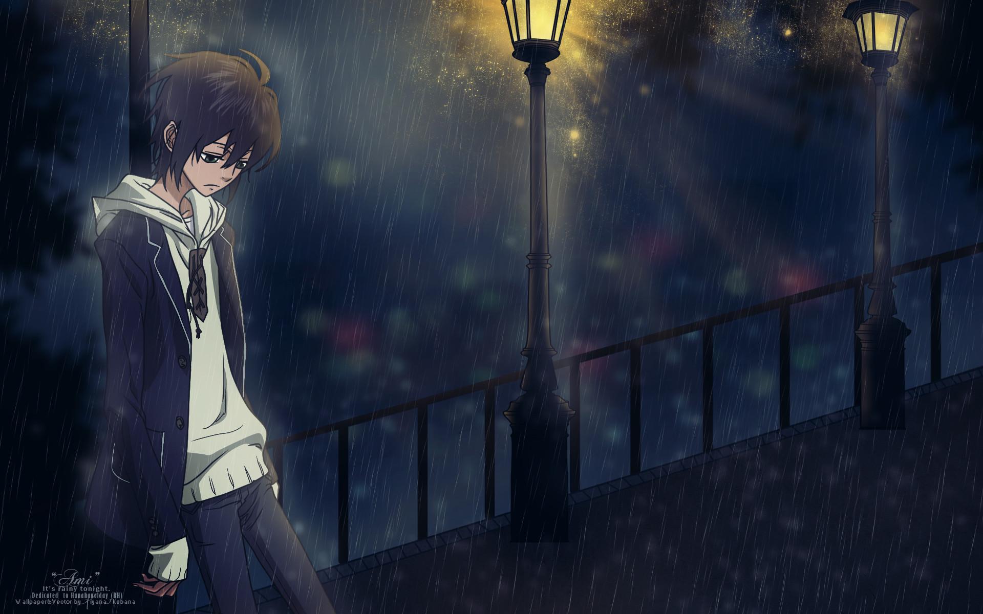 Sad Anime Girl Crying In The Rain Wallpaper Sad Anime Boy Wallpaper 183 ①