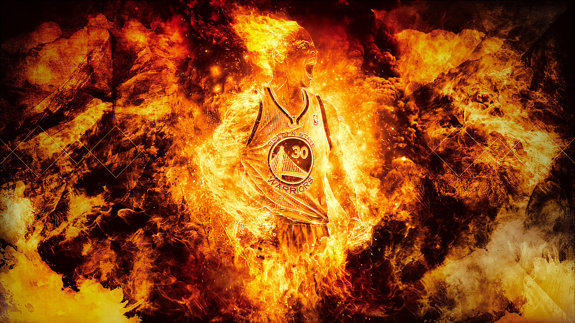 Brandweer Behang Stephen Curry Fire Wallpaper ①