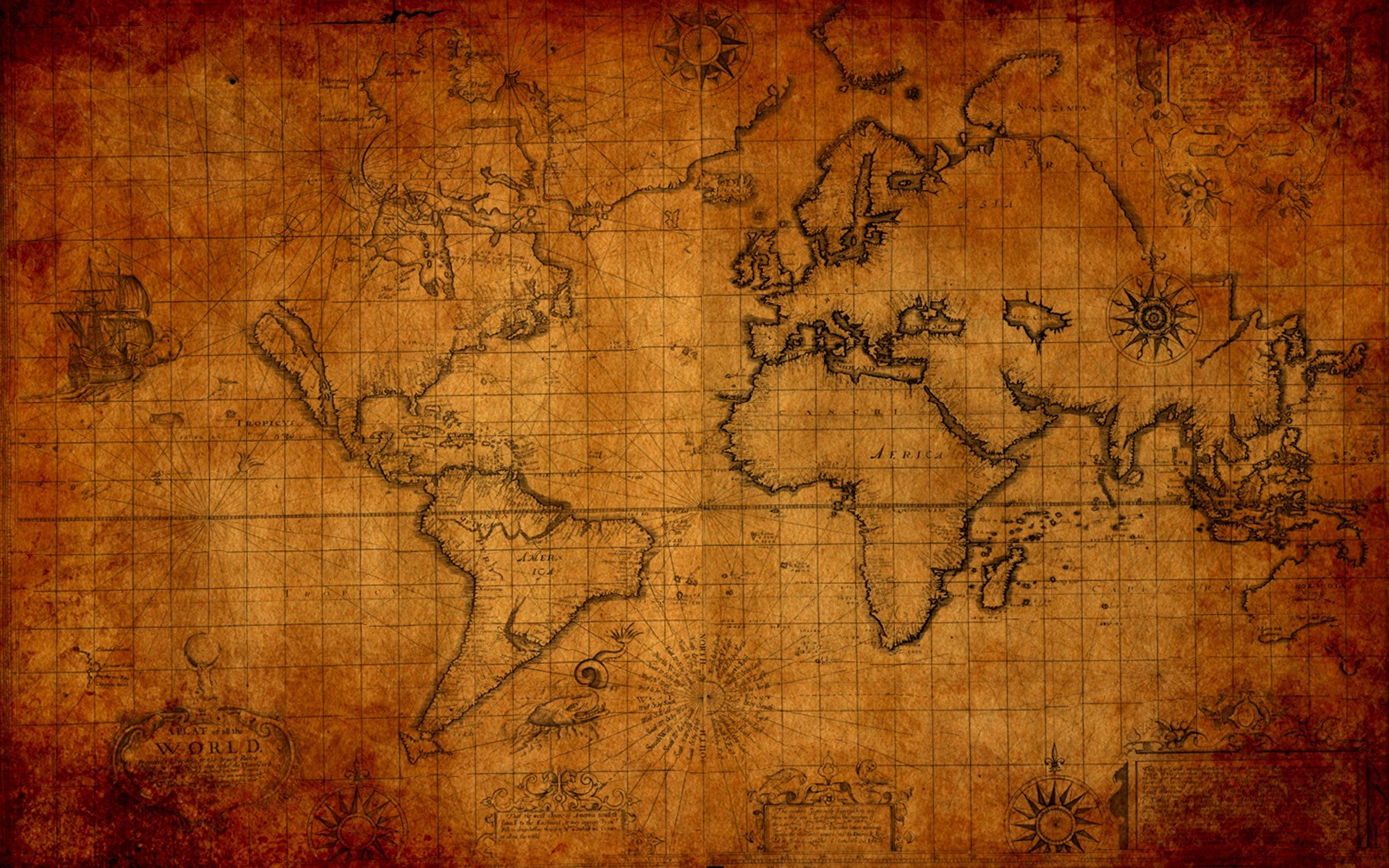 Cheap 3d Wallpaper Old Map Background 183 ①