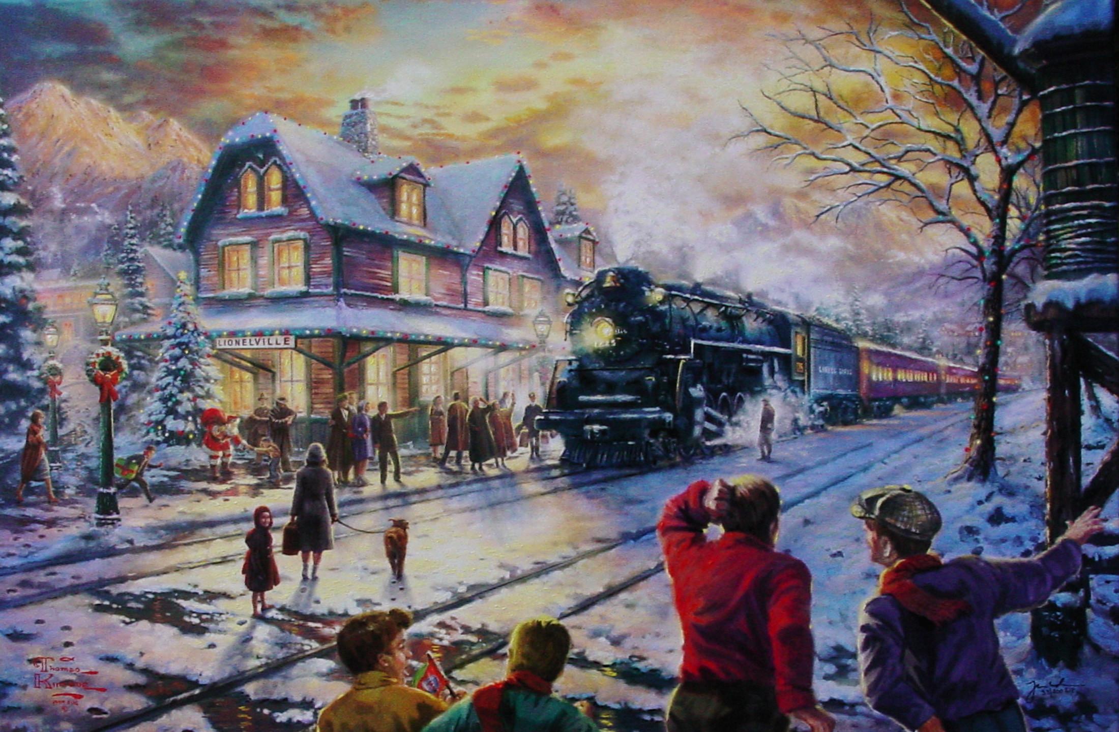Disney Princess 3d Wallpaper Thomas Kinkade Christmas Backgrounds 183 ①