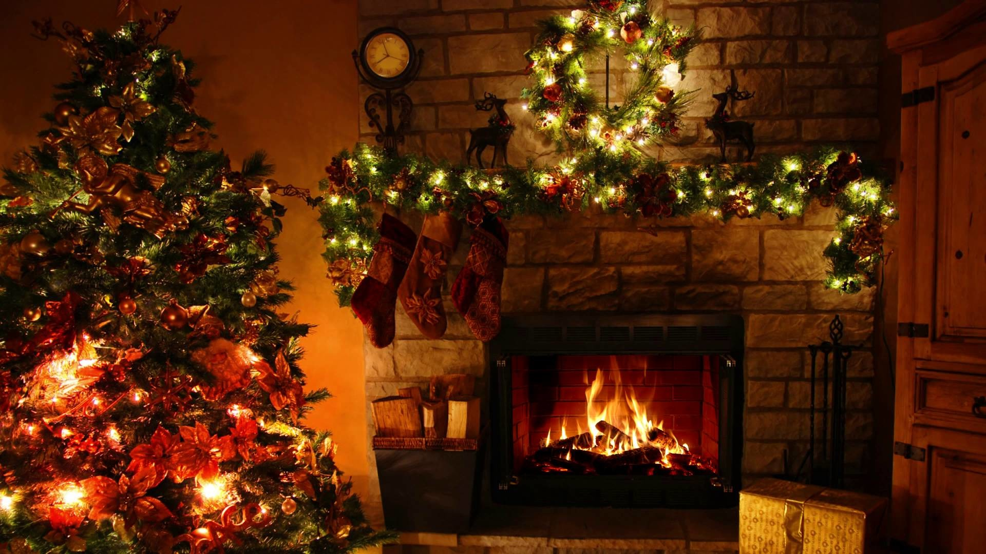 Fireplace Screens Tree Design Christmas Fireplace Background ①