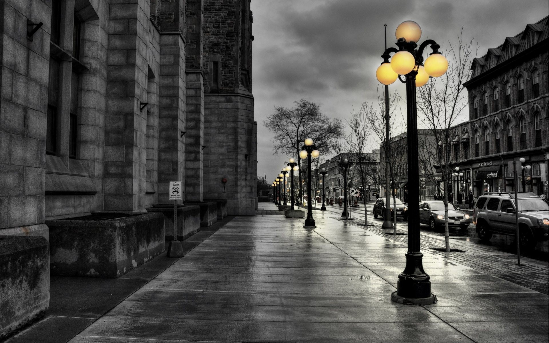 Street Lamp Wallpaper Black And White Nature Yellow Walk Street Lights Wallpaper