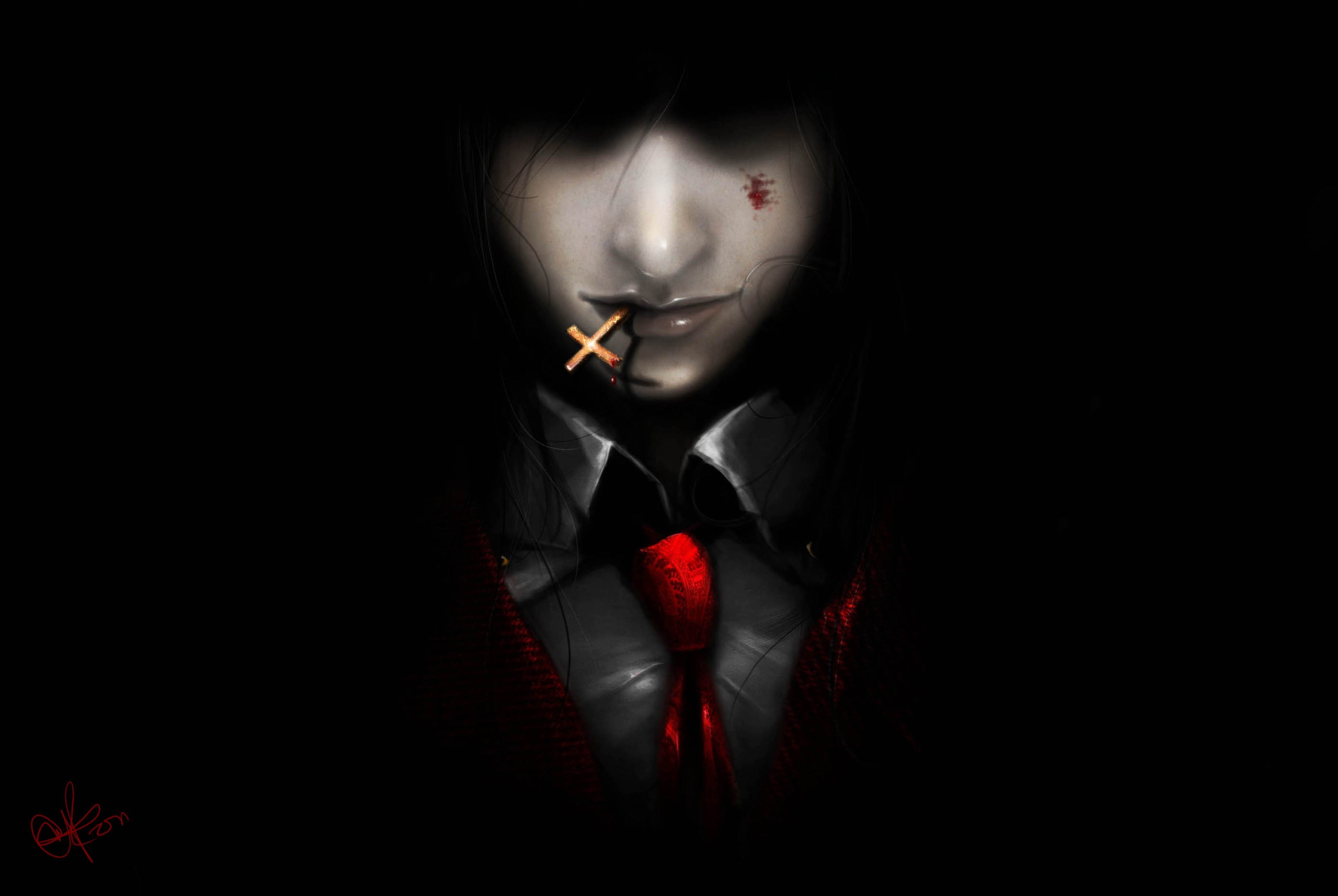 Dark Blood Wallpaper Art Hellsing Alucard Demon Vampire Man Cross Dark Background Tie