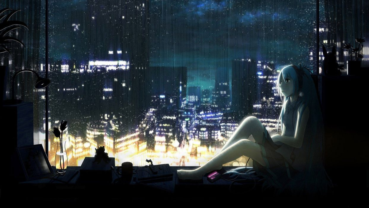 Girl Night Lights Headphones Water Clouds Cityscapes Dark Vocaloid Night Lights Rain