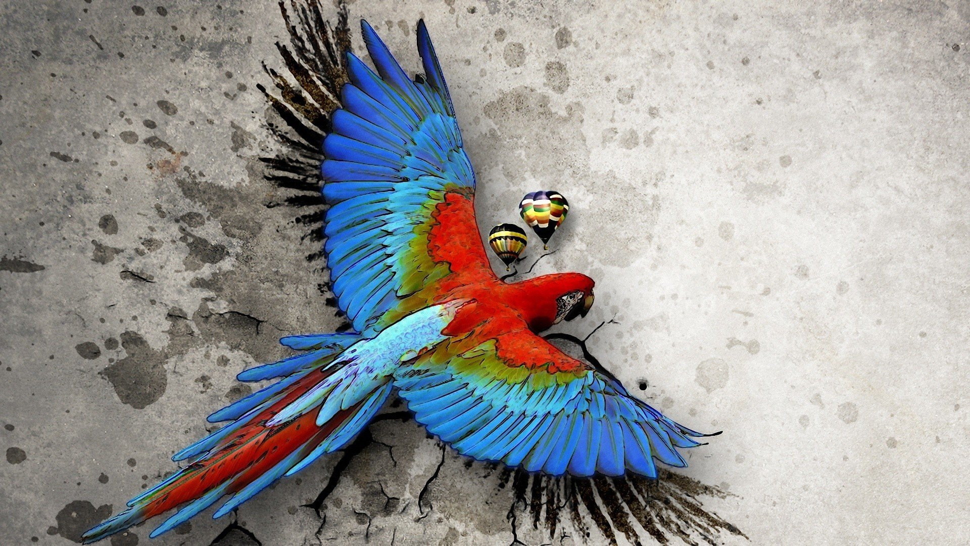 Tropical Artwork Macaw Parrot Bird Tropical Psychedelic Artwork Art