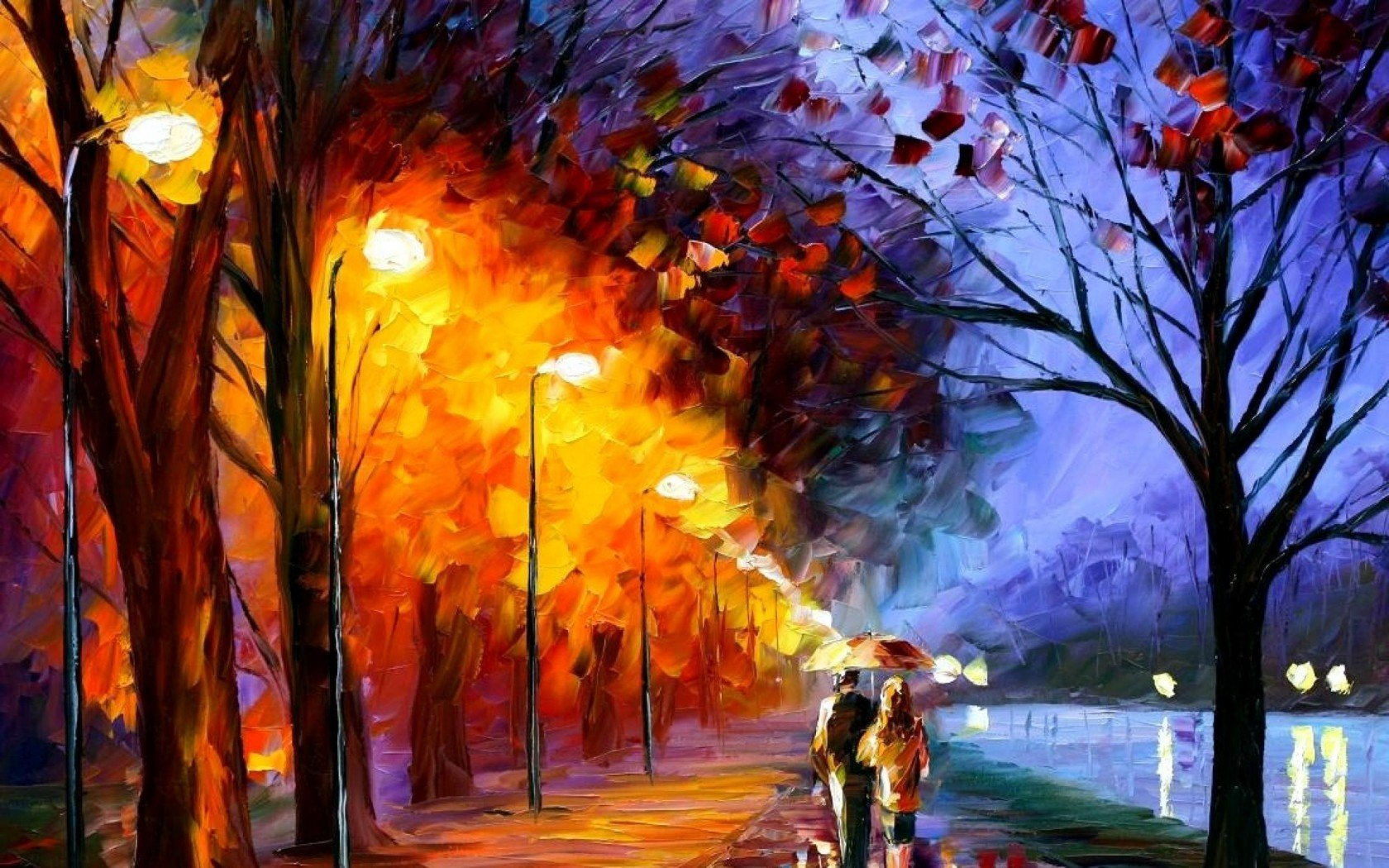 Street Light At Night Painting Walk Along The Waterfront Leonid Afremov Tour Two Umbrella