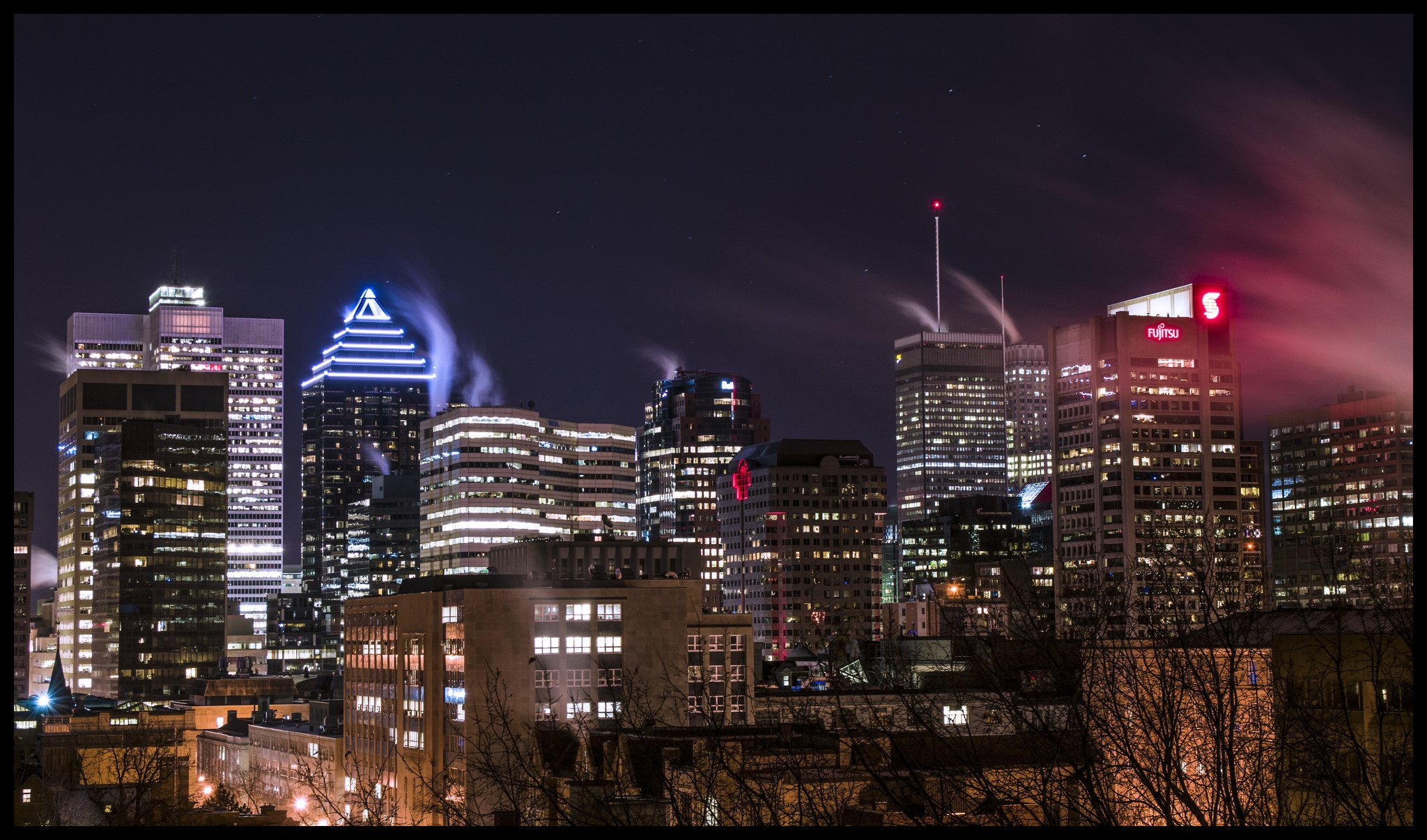 Lights Montreal Building Canada Montreal Quebec Night Light Cities