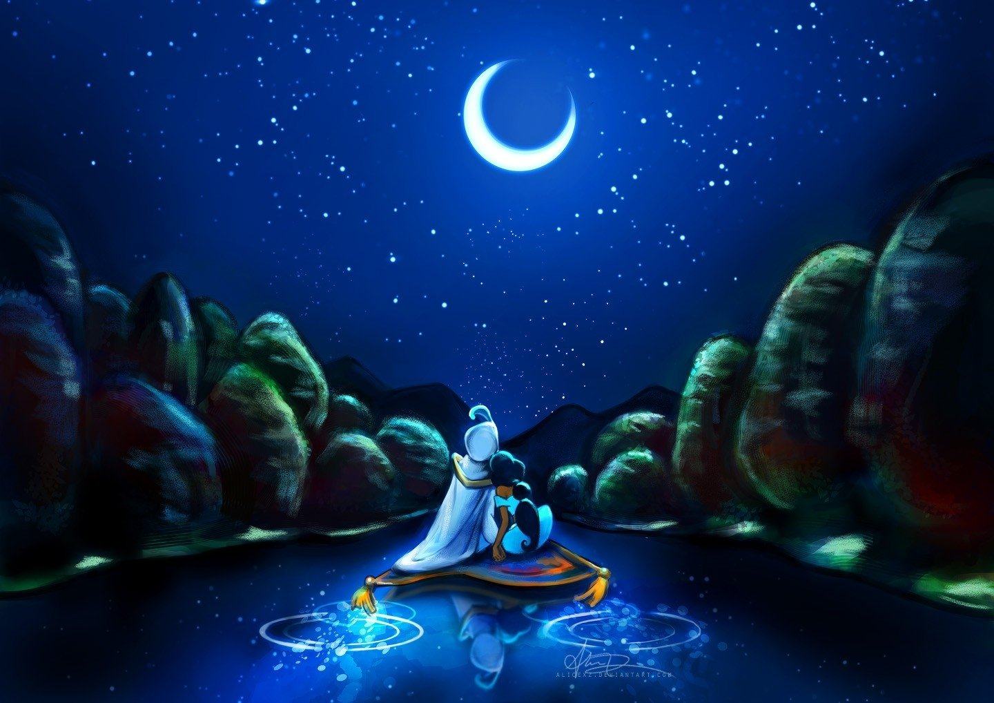 Alfombra Pinocchio Disney Company Stars Flying Moon Carpet Artwork Aladdin