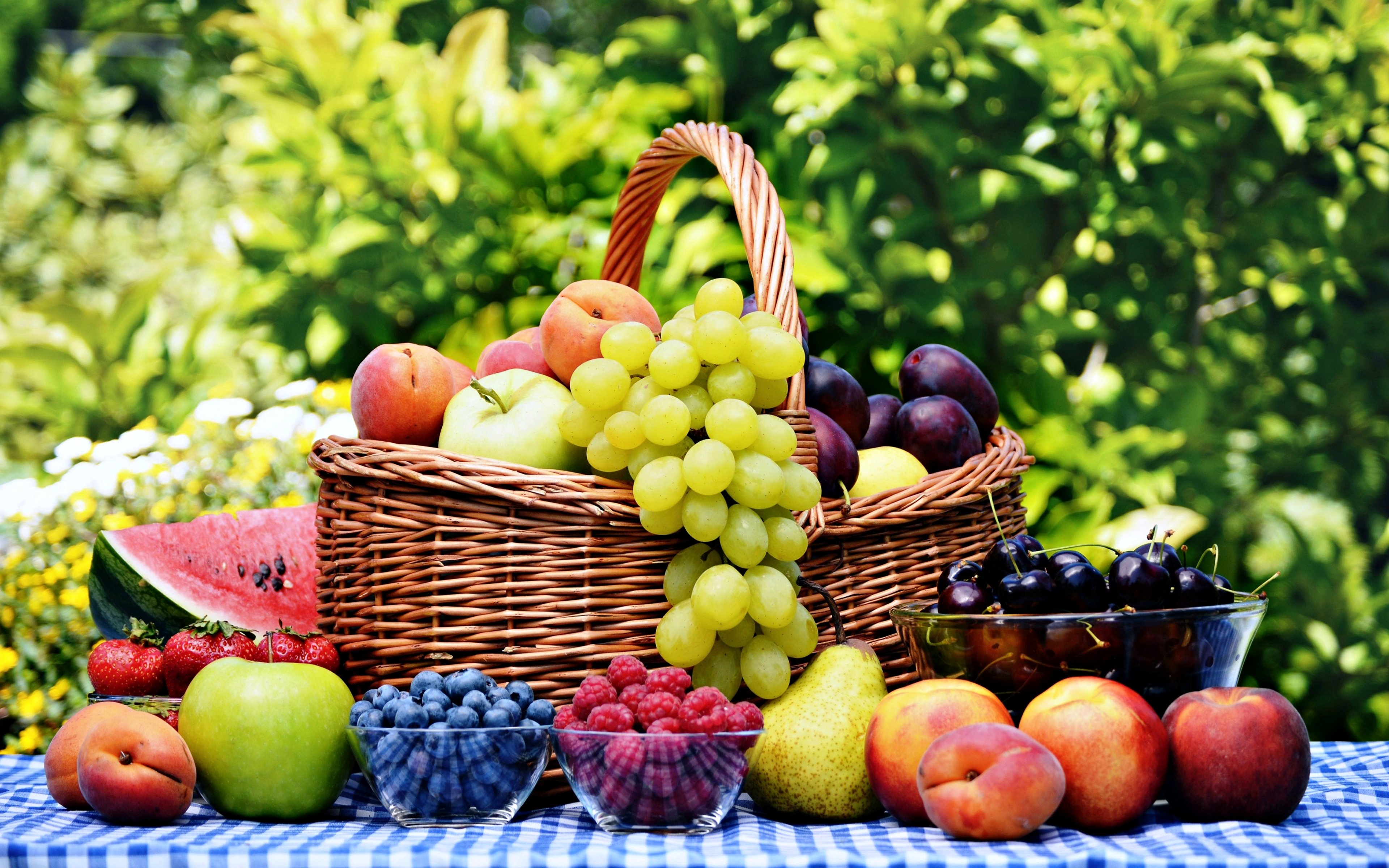 Table Top Fruit Basket Fruits Basket Grape Strawberry Apple Watermelon Blueberry