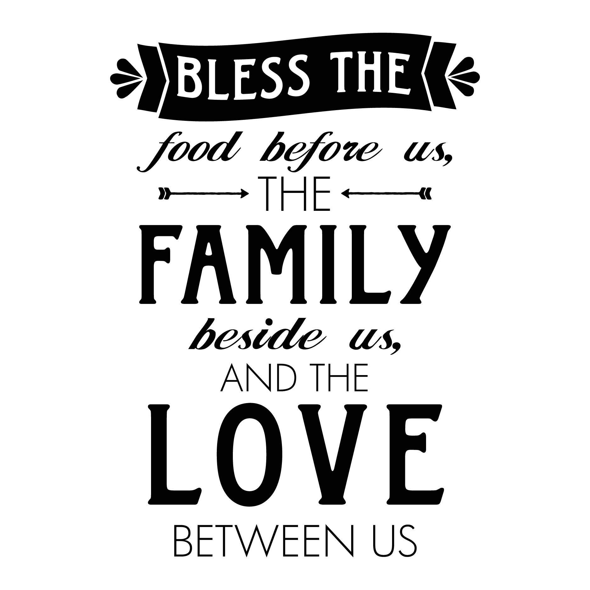 Free Kitchen Design Quotes Whimsy Bless Food Family Love Wall Quotes Decal