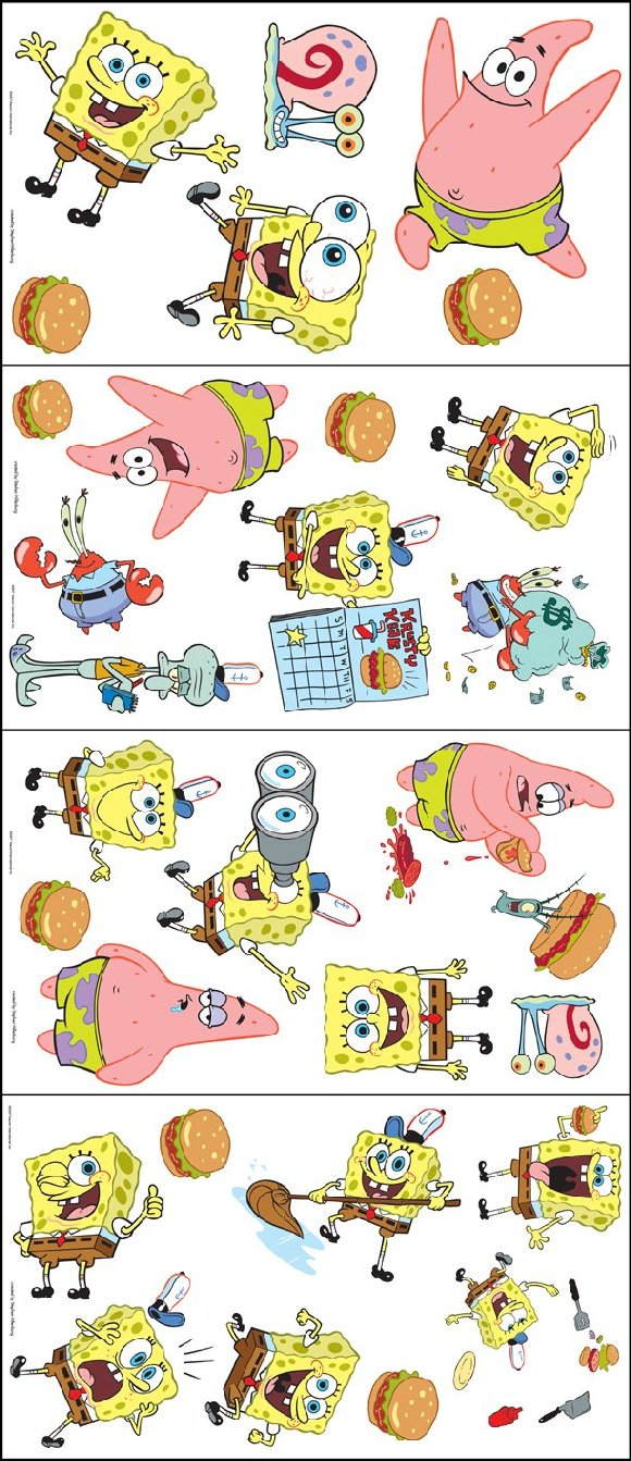 Removable Wallpaper Murals Spongebob Squarepants Appliques
