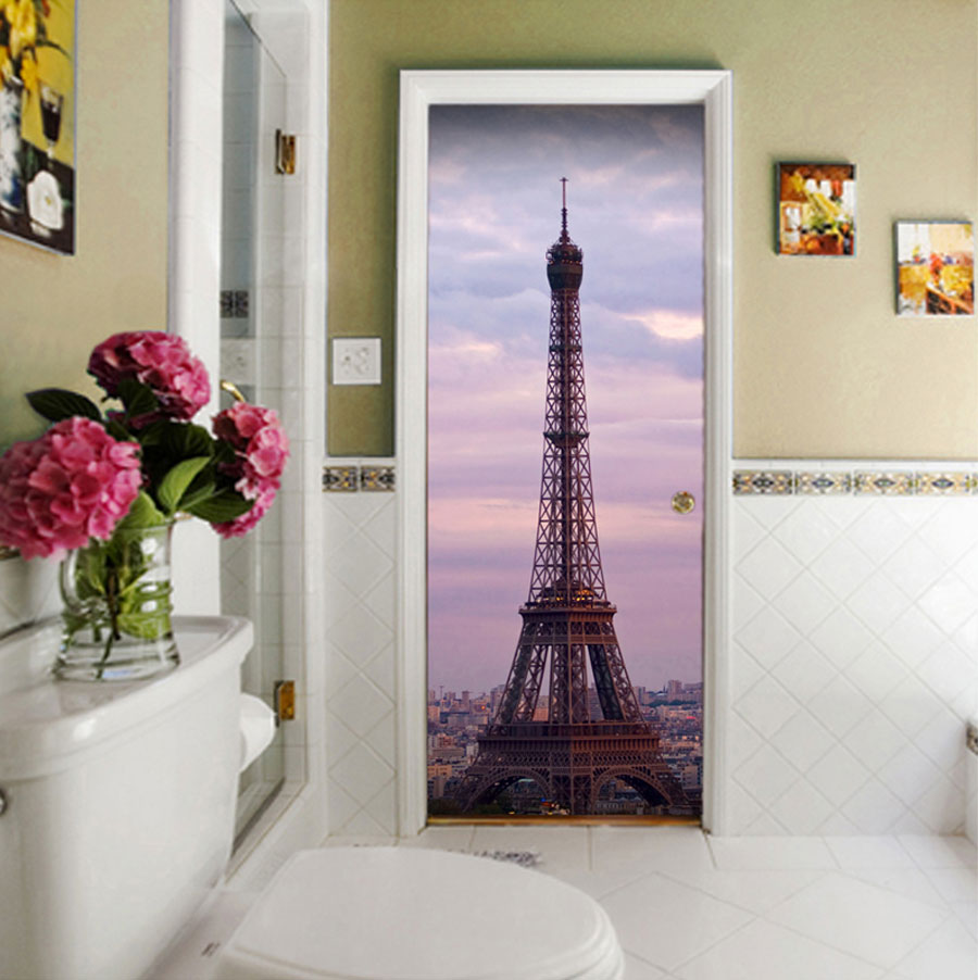 Black Pink And Silver Wallpaper Eiffel Tower Door Contact Paper Wall Sticker