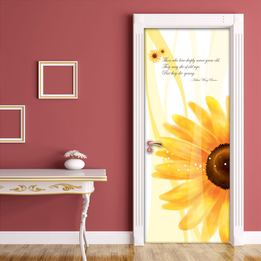 Black And Blue Floral Wallpaper Sunflower Door Contact Paper Self Adhesive Peel Stick