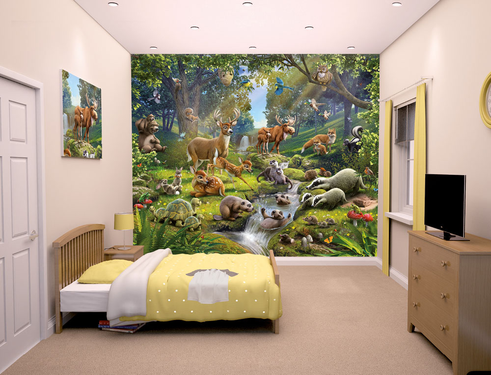 Animals Of The Forest Bedroom Mural 10ft X 8ft