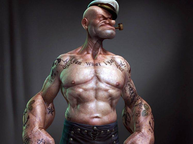 Wallpaper Girls Tatto Hd Cool Popeye 3d Cartoon Best Wallpapers Hd Desktop And