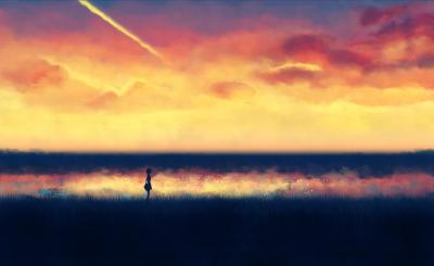 Lonely Anime Girl silhouette Wallpapers HD / Desktop and Mobile Backgrounds