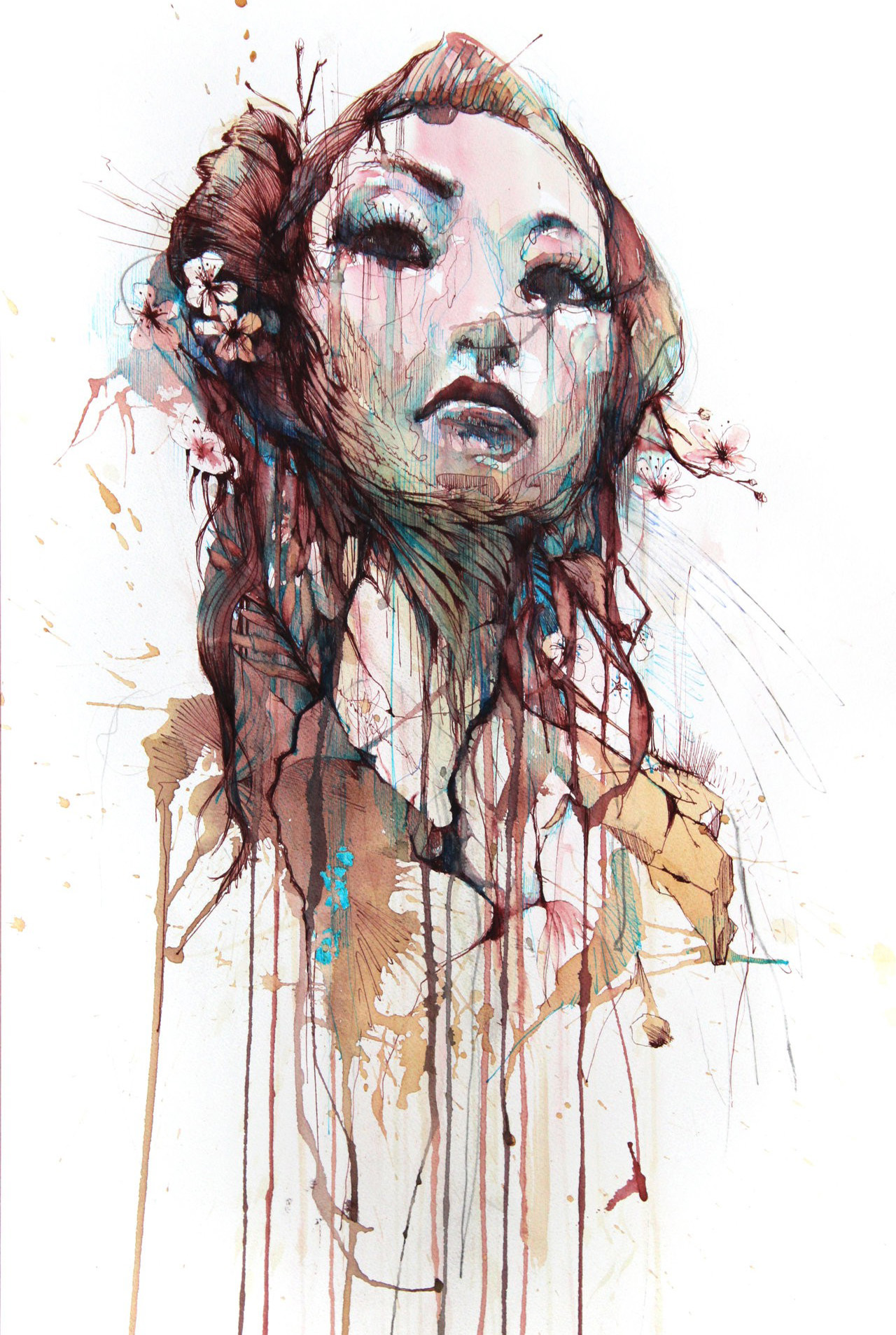 Girl Face Wallpaper 5k Abstract Paintings Traditional Art Strength Scans