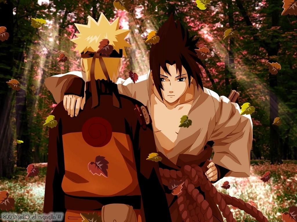 Wallpaper Leaves Falling Anime Uzumaki Naruto Naruto Shippuuden Uchiha Sasuke