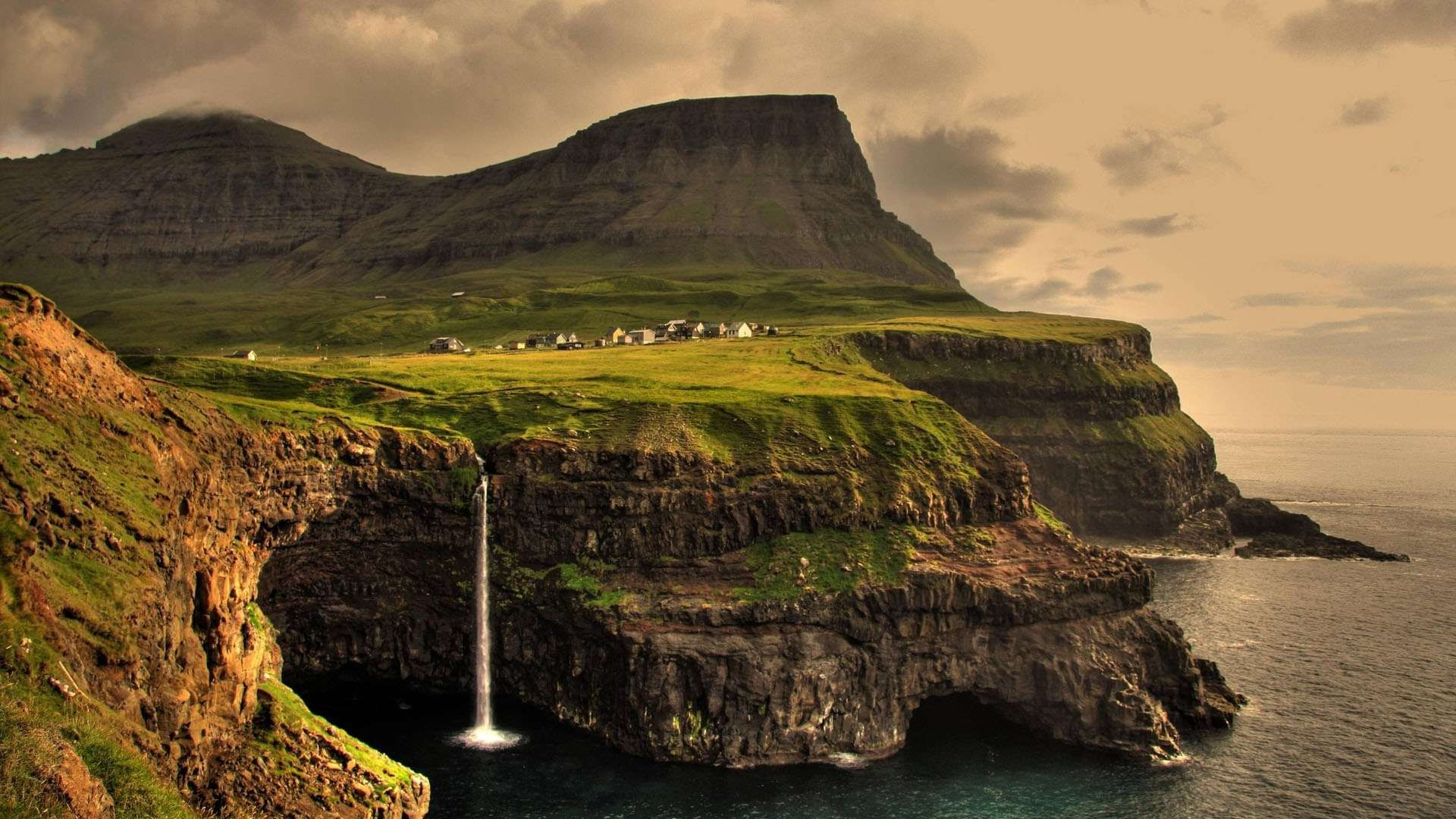 Gravity Falls 4k Wallpaper Anime Gasadalur Faroe Islands Landscape Waterfall
