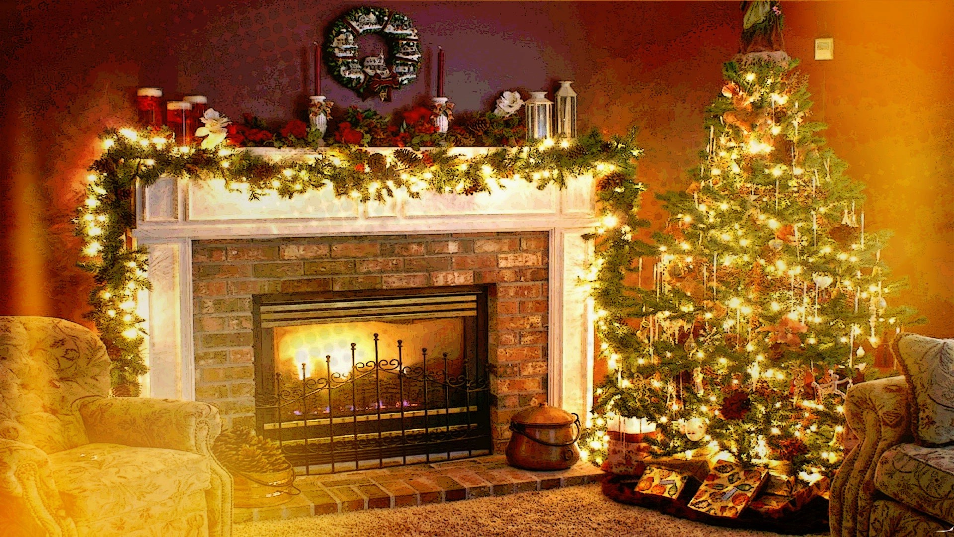 Christmas Fireplace Wallpaper Christmas Holiday Fireplace Interiors Welcome Home Wallpapers