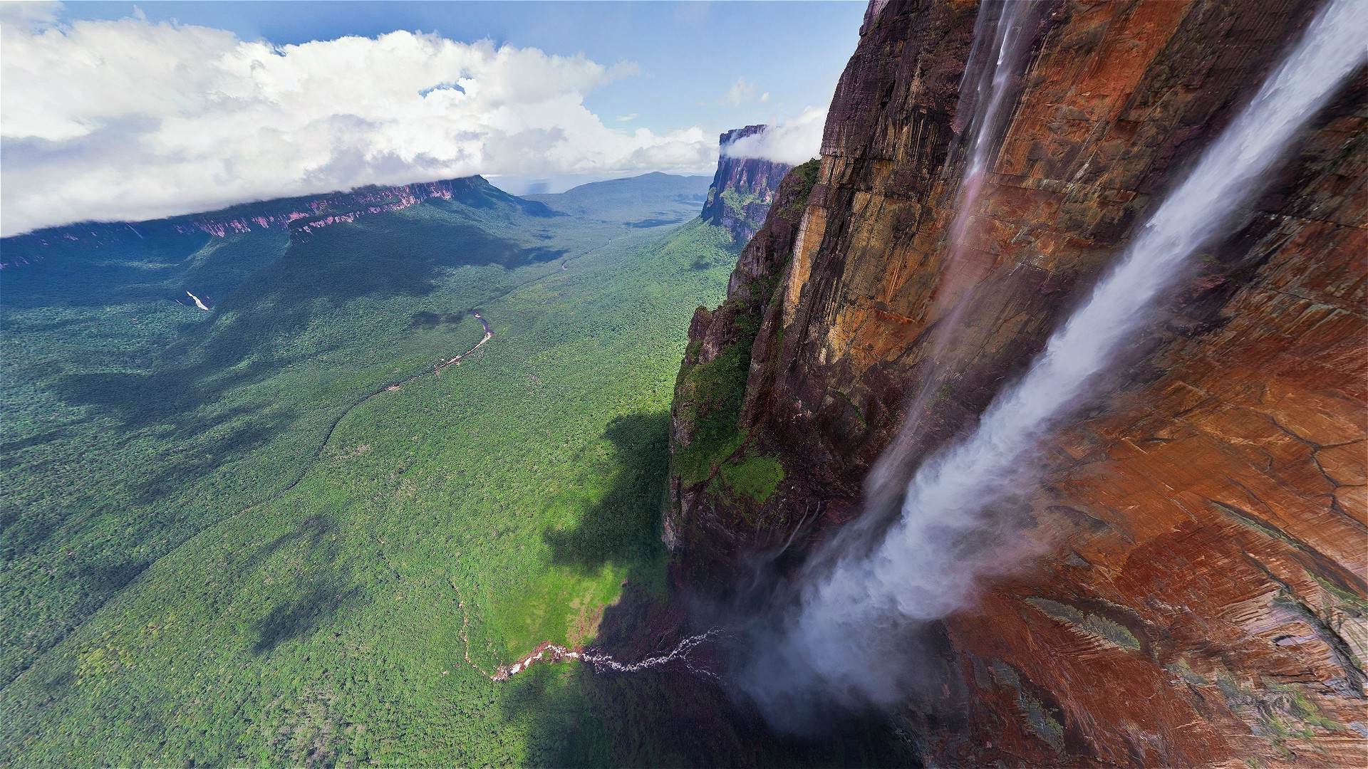 Angel Falls Hd Wallpaper Cliff Tropical Rock Clouds Trees Tepuyes Salto 193 Ngel