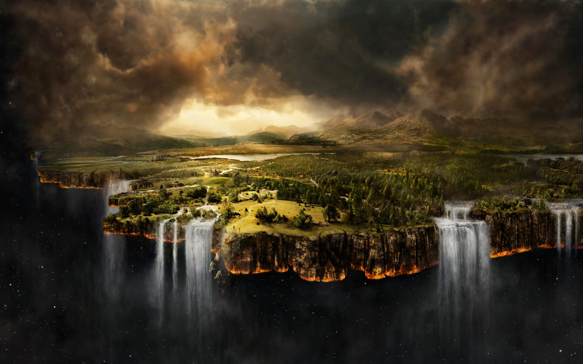 Dream About Wallpaper Falling Off Space Clouds Landscape Waterfall Matte Painting