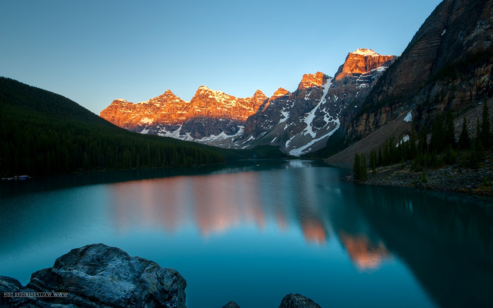 Full Hd 3d Computer Wallpapers Landscape Lake Sunset Mountain Moraine Lake Banff