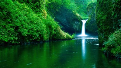waterfall, Water, Nature, Landscape, Green, River, Forest ...
